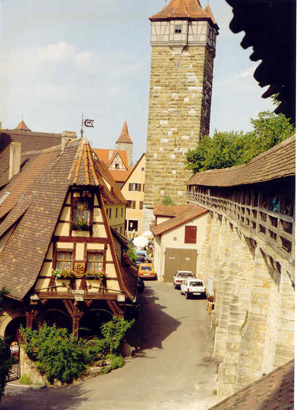 Rothenburg, surrounded by the Roder Tower and medieval wall